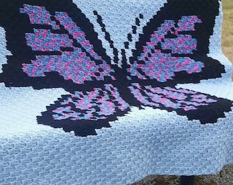 Butterfly Baby blanket, child blanket, lapghan. Custom orders available, free shipping