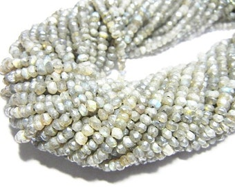 5 Strand Labradorite Faceted Rondelle 3-4mm Beads Strands