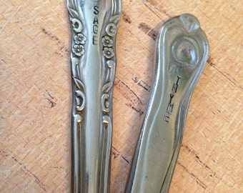 Upcycled Garden markers made from vintage butter knives...upcycled silverware customized into garden markers...Herb garden...hand-stamped
