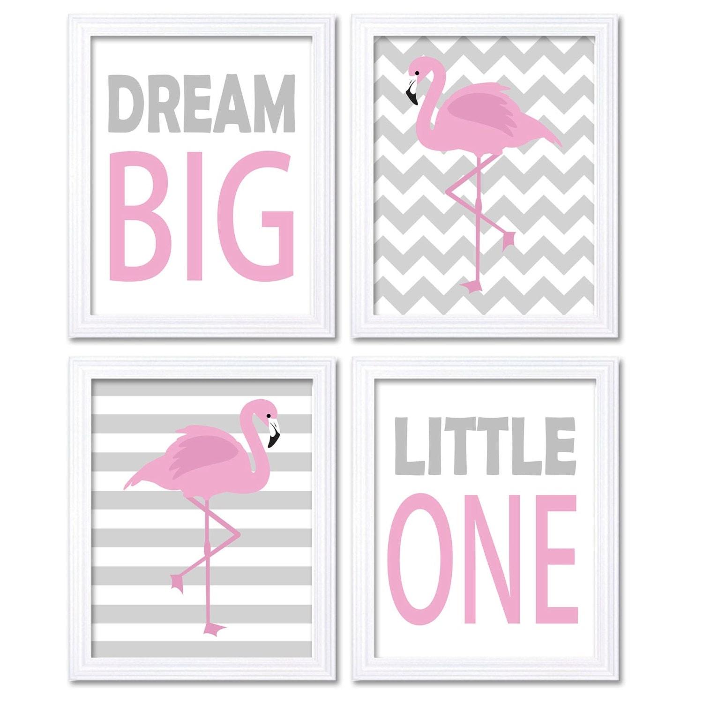 Pink Gray Grey Flamingo Nursery Art Dream Big Little One Set of 4 Prints Stripes Chevron Child Kid R