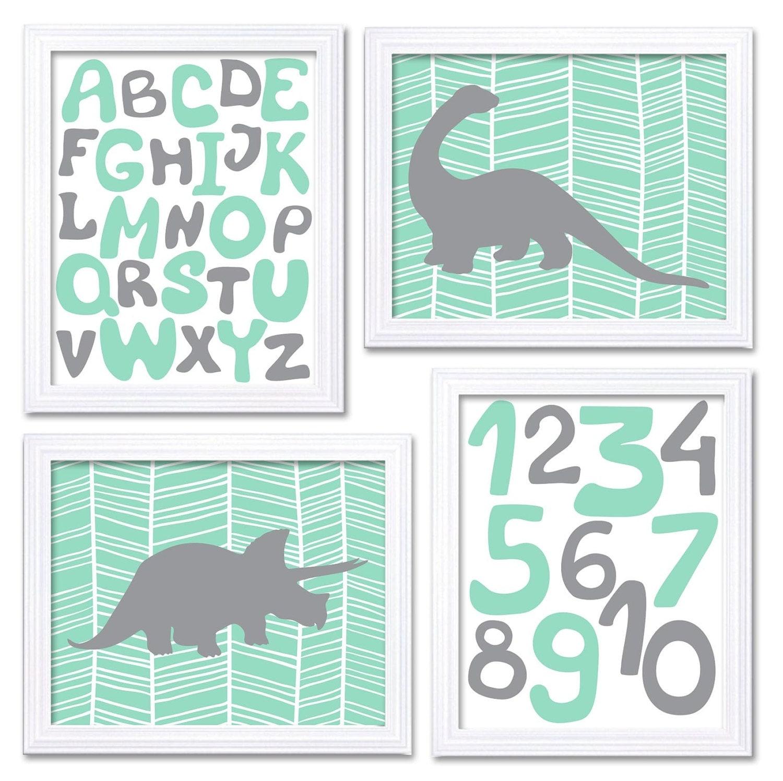 Dinosaurs Nursery Art Set of 4 Prints Grey Mint Green Harringbone Tyrannosaurus Rex Brachiosaurus Al