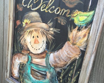 Scarecrow,Whimsical Scare Crow Man , hand painting on window screen,Fall decor,Fall,hand painted,Welcome sign,MADE TO ORDER