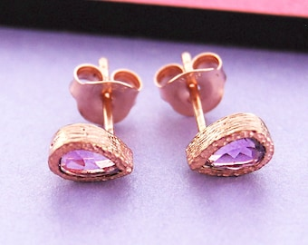 Amethyst Earrings, Rose Gold Studs, Tear Drop Stud Earrings, Rose Gold Jewelry, February Birthstone, Dainty Earrings, Purple Earrings, Gifts