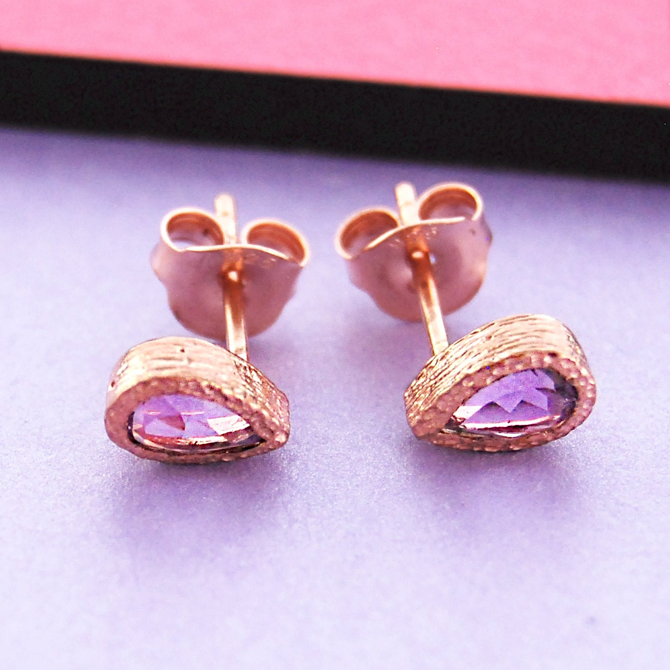 amethyst earrings rose gold studs tear drop stud earrings. Black Bedroom Furniture Sets. Home Design Ideas