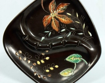 Ashtray Hand Painted by Herta Canada Brown Green 1960s Vintage