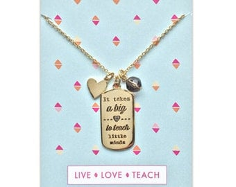 Teacher's Gift Charm Necklace, Gold, End of Year Teacher, Teacher Appreciation, Mentor Necklace, Inspirational Teacher Necklace