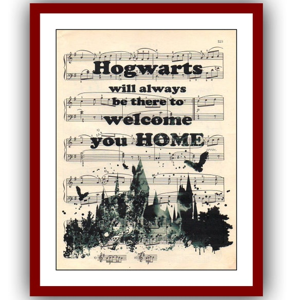 Harry Potter  Poster Hogwarts Poster 40 Giclee Wall Illustrations Art Print 8x10  Wall Decor Book Page Art  Upcycled Dictionary