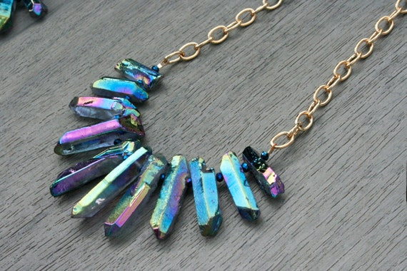 Mermaid Blue Quartz, Crystal and Gold Statement Necklace // Gifts for Her