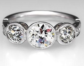 Vintage Old Euro Bezel Set Three Stone Diamond Engagement Ring Platinum WM9147