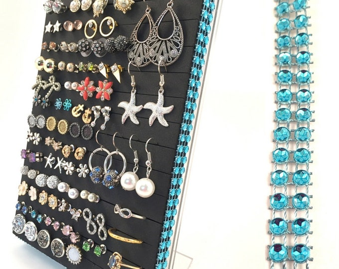 Earring & Ring Organizer - Turquoise Blue Jeweled Ribbon - Earring Display