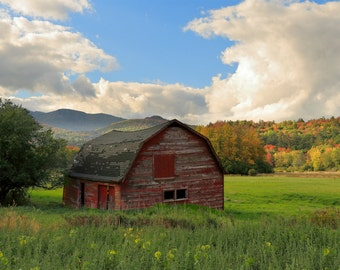 Rustic Red Barn with Fall Foliage Photograph - Autumn Leaves and Fall Colors with an Old Red Barn