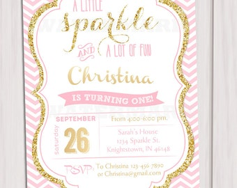 Pink and Gold invitation, Gold Glitter Invitation, 1st Birthday Invitation, Girl Birthday Invitation, Kids birthday invite, Printable invite