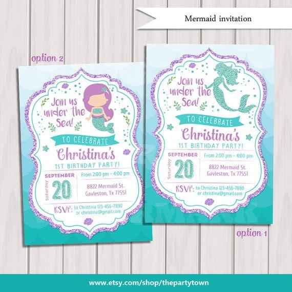 Mermaid Birthday Invitation Little Mermaid Party Invite Under the