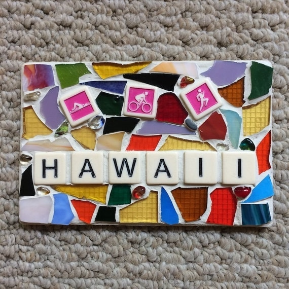 Triathlon Hawaii Stained Glass Mosaic Art with a Message Made in Hawaii Deesigns by Harris©