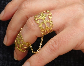 Gold brass slave ring, Statement ring, Brass filigree adjustable rings, Goth ring, Gothic ring, Filigree ring, Gold chain rings,