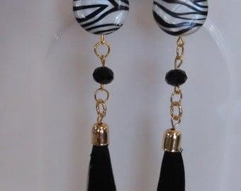 Tassel zebra earrings