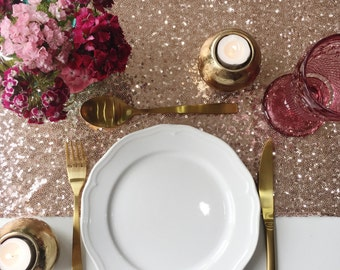 Rose Gold Sequin Table Runner,  Sequin Tablecloth, Sequin Linen, Sequin Gold Table Runner, Wedding Sequin Table Runner