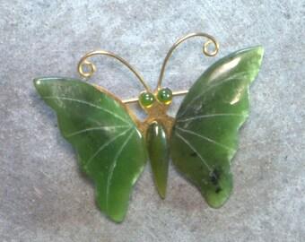 Jade Butterfly Pin, Large Jade Brooch, Vintage Brass
