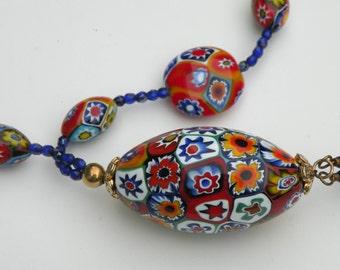 "Venetian Murano Glass ""Fine"" Millefiori, Multicolored Mosaic, Pendant Necklace with Italian Large Oval, Discs, and Medium Ovals"