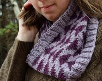Handknit Wool Triangle Colorwork Purple Cowl Scarf