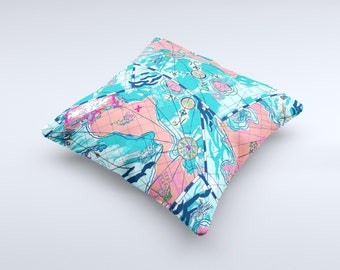 Neon Navigation ink-Fuzed Decorative Throw Pillow
