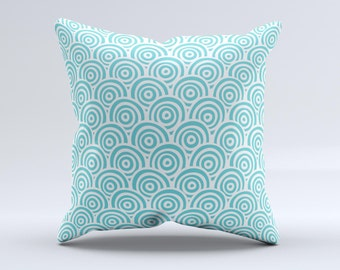 The Aqua Blue & White Swirls ink-Fuzed Decorative Throw Pillow