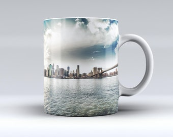 Vivid Cloudy Sky Over The City Skyline-ink Fuzed Ceramic Coffee Mug or Tea Cup