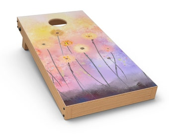 Drizzle Watercolor Flowers V2 - Cornhole Board Skin Kit