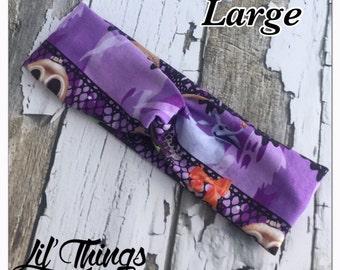 Lace Burton Halloween Jack Twist Knot Headband Turban Headbands, S, M, L, Small, Medium, Large