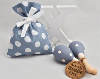 Grey & White Polka Dot Baby Rattle, Baby Toy, Baby Maraca, Wooden Toy