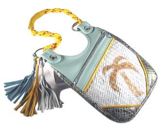"Handbag beach bag raffia bag summer accessoire travel bag vacation bag it bag boho surf style handbag leather bag ""Mila"""