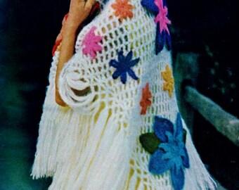 Crocheted Breath of Spring Shawl with Flower Motifs PDF Crochet Pattern