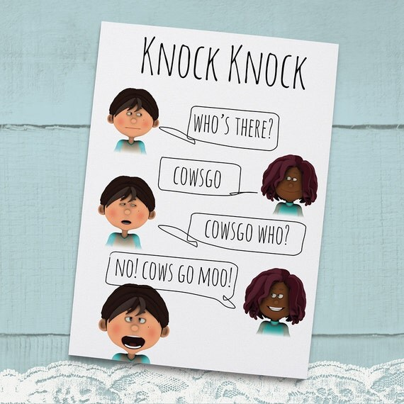 Knock Knock Ya Who Joke Greeting Card For Kids Instant: Items Similar To Knock Knock Joke Cows Go Greeting Card