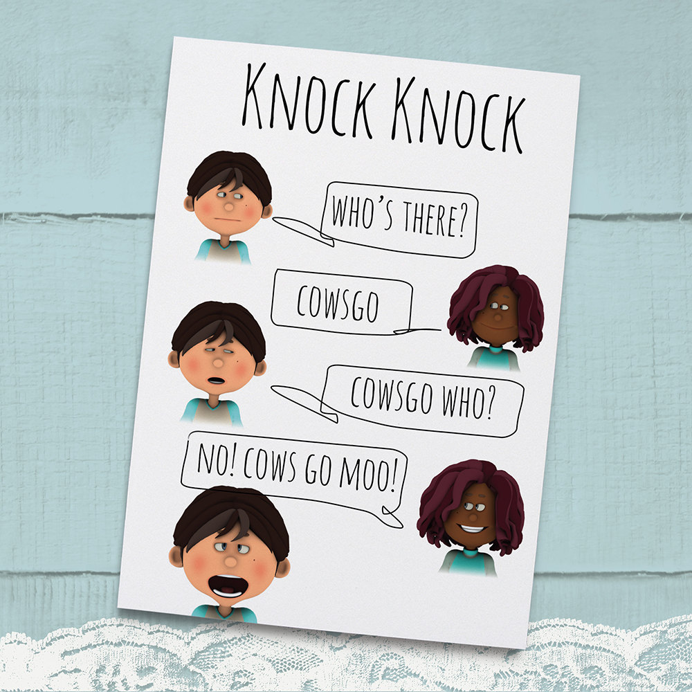Knock Knock Ya Who Joke Greeting Card For Kids Instant: Knock Knock Joke Cows Go Greeting Card For By
