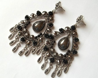 Handmade earrings antique silver tone filigree chip, crystals, cabochons and black roses