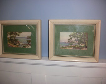 Vintage Tropical Watercolors Set of Two
