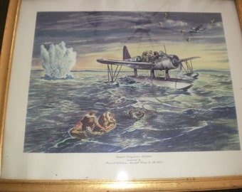 Vintage Pratt and Whitney WW11 Airplane Print of a Vought Kingfisher