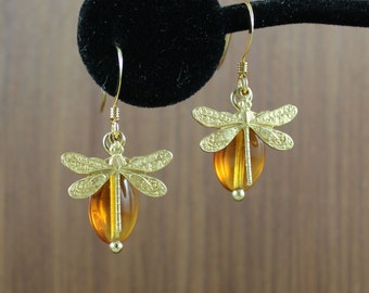 Dragonfly and Amber gold earrings ~ Outlander inspired