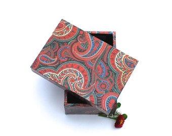Box, storage, paisley, jewelry box, handmade, gift box, gift