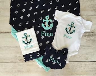Anchor/Nautical Personalized Baby Boy Bodysuit, Blanket, Bib and Burp Cloth Set