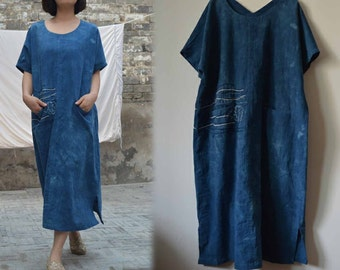 480---Hand Dyed Cotton Tunic Dress, with Hand Embroidery, Indigo Blue Dress, Gown, Made to Order.