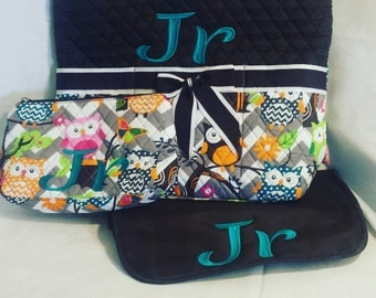 3 Piece Personalized Brown Owl Diaper Bag with Changing Pad And Cosmetic Case