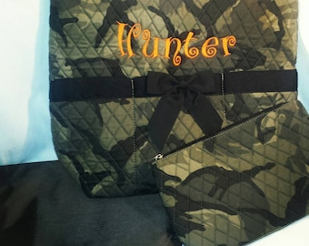 CLEARANCE!!!!Camo Diaper Bag Embroidered with Changing Pad And Cosmetic Case - Camouflage diaper bag - SALE - Baby Bag