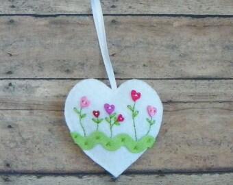 White Felt Heart And Flowers Ornament