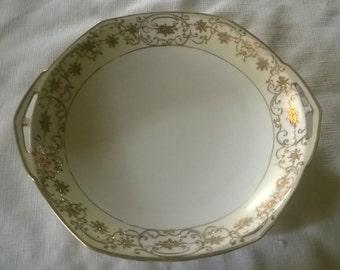 Vintage Nippon Handled Gold Design Serving Dish-c.1920's or 1930's