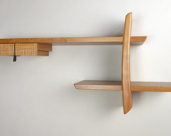 Japanese-Inspired Solid Cherry and Maple Wood Wall Shelf