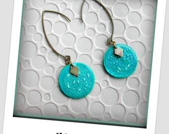 Turquoise round earrings, sequin handmade original earrings