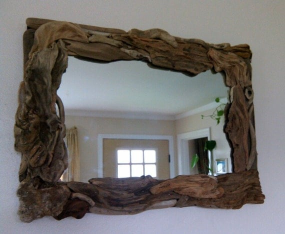 Reclaimed Wood Mirror Small Square Mirror Bathroom Mirror: Driftwood Mirror Rectangle Mirror Beach Theme Wall Mirror