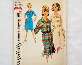 Vintage Simplicity 5582 uncut sewing pattern size 18 1/2 dress skirt 1960s half size petite