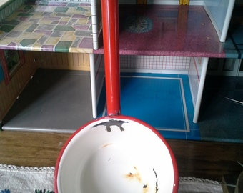 1950s Red and White Enamelware Ladle